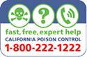 California Poison Control Hotline 1-800-222-1222